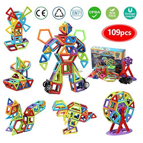 Magnetische Bausteine infinitoo 109tlg Magnetic Bauklötze Baukasten Kinder | Tolles Geschenk Lernspielzeug für Kinder ab 3 Jahre | Perfekt für den Einsatz zu Hause, in Schulen, Kindertagesstätten etc.