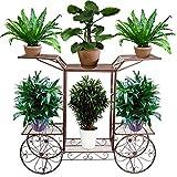 Dazon Eisen Blumentreppe Blumen Regale Pflanzenständer 67cm mit 6 Körbe Hocker Blumenhocker Regal (Bronze)