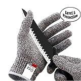 Puao Schnittfeste Handschuhe, Lebensmittelqualität, Anti-Rutsch-Arbeitshandschuhe, Hohe Leistung, Schutz-Handschuh für Küche, Garten, Haus DIY, Grau