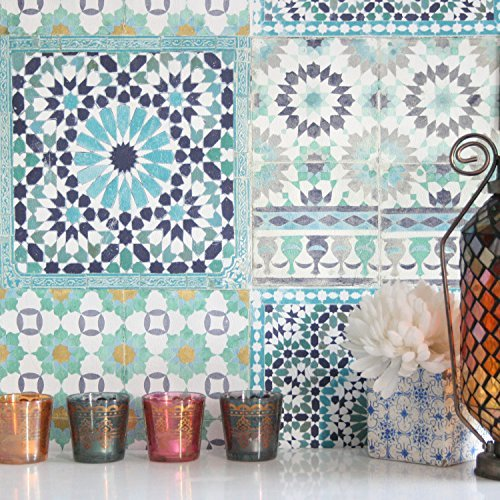 Marrakesh Reclaimed Mosaic Patterned Tile Effect Wallpaper in Blue & Green Tones(Sample Only)