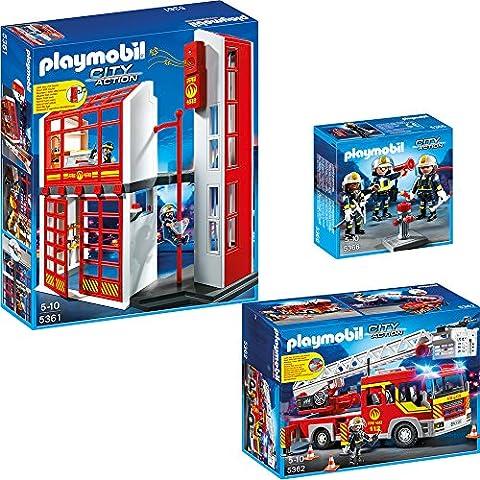 PLAYMOBIL® City Action corps de pompiers set en 3 (trois) parties 5361 5362 5366 Corps de pompiers quartier général + Camion de pompiers +