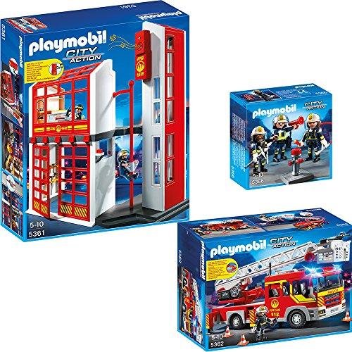 Preisvergleich Produktbild PLAYMOBIL® City Action Feuerwehr 3-teiliges Set 5361 5362 5366 Feuerwehrstation + Feuerwehr-Leiterfahrzeug + Feuerwehr-Team
