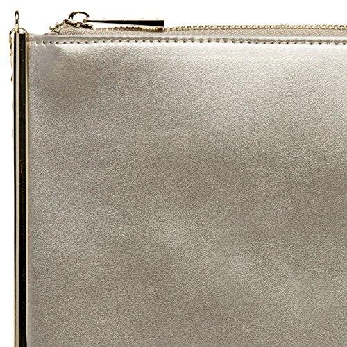88612b0dcdbd1 CASPAR TA406 kleine flache elegante Damen Envelope Clutch Tasche Abendtasche  Champagner