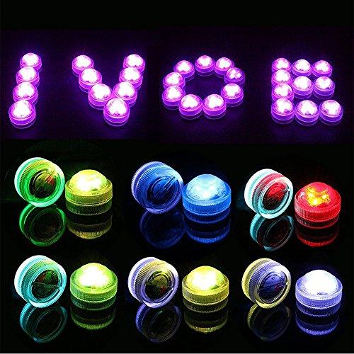 Bello Luna 10PACK Flameless LED Tea Lights Velas, sumergible impermeable LED Party Tea Mini Light Opción multicolora con pilas con control remoto, perfecto para bodas Thanksgiving Holiday Party Lighting Strobe