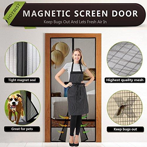 Magnet Fliegengitter Tür Insektenschutz 90x210 cm, Magnetvorhang für Türen,Full Frame Klettverschluss Fliegengitter Tür,Einfach zu Installieren