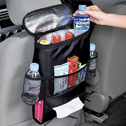 I. Valux asiento de coche organizador, con aislamiento AUTO asiento espalda organizadores de viaje con bolsillos de almacenamiento soporte para bebidas enfriador/calor bolsa de almacenamiento para botella de bebida con bolsillos de malla