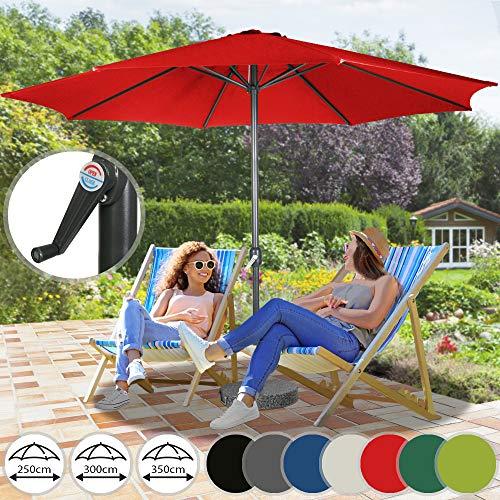 Miadomodo Parasol Octogonal - Protection UV 30+, Polyester, Manivelle, Tailles (Ø 2,5/3/3,5 m) et Couleurs au Choix - Parasol de Jardin, Terrasse, Balcon (Ø 3 m, Rouge)