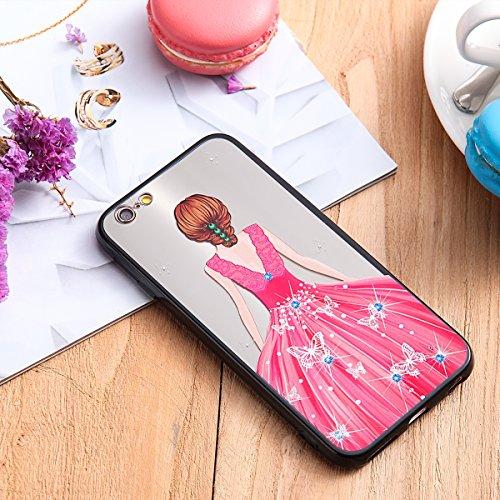Coque pour iPhone 6,iPhone 6S étui, ETSUE Solidité Housse en PC Case pour iPhone 6/6S, Ultra-mince Noir Fond avec Belle Joli Fille Beauté Coloré Motif de Relief, Girl Femme Coque en Rêve, Housse en Ro Joli Fille 7#