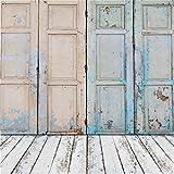 YongFoto 3x3m Toile de Fond Shabby Bleu Porte en Bois et Plancher en Bois Blanc Vide Intérieur en Bois Fond Décors Studio Photo Portrait Enfant Video Fete Mariage Photobooth Photographie Accesorios