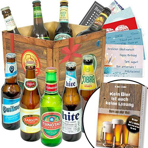 """""""BIERE DER WELT"""" Geschenkbox *PORTOFREI* + gratis Geschenkkarten + Bierbewertungsbogen. Bier Geschenke aus Italien + Griechenland + Niederlande +…Pilsener Urquell + Carlsberg +"""