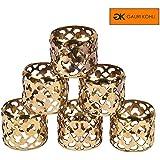 GAURI KOHLI : Mesh Design Napkin Rings In Gold & Antique Finish (Set Of 6)