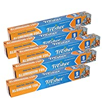 Freshee 9m Aluminium Silver Kitchen Foil Roll Paper Pack of 5| 10.5 micron thick| Food wrap| Bacteria Resistant| Disposable 100% Recyclable Food Parcel| Hookah| Fresh Food Grade Quality