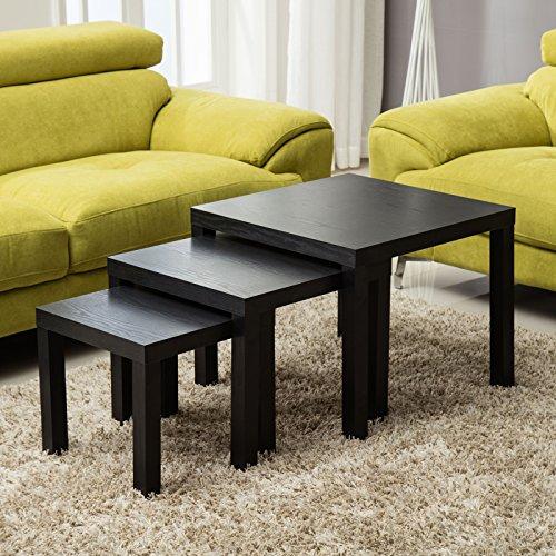mecor Black Nesting Tables Squar...