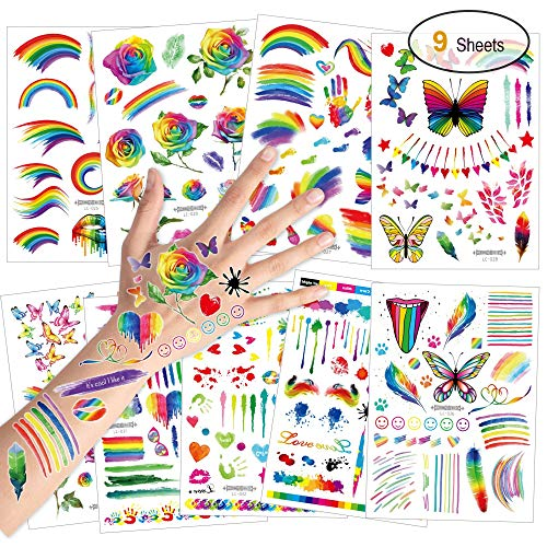 Konsait tatuaggi temporanei per bambini, farfalla fiore arcobaleno tatuaggio tattoos adesivi compleanno gadget per adulti bambini festa di compleanno regalo giocattolo, 9 fogli