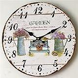 Wmshpeds Pastorale europea dipinto di solido legno orologi da parete soggiorno moderno orologi da parete Orologi creativi antico tavolo pensile orologio silenzioso
