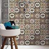 fasloyu 16leicht anzuwenden DIY Badezimmer/Küche selbstklebend Tile Art Boden Fliesenaufkleber Tapete 20cm * 20cm C mehrfarbig