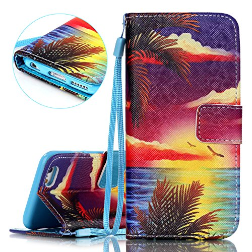 iPhone 6S Hülle, iPhone 6 Hülle, ISAKEN iPhone 6S 6 Hülle Muster, Handy Case Cover Tasche for iPhone 6S / 6, Bunte Retro Muster Druck Flip Cover PU Leder Tasche Case Schutzhülle Hülle Handy Tasche Etu Bunte Sonnenaufgang Coco Meer Adler