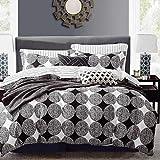 KEAYOO Bettwäsche 135 x 200 cm Wendebettwäsche mit Elegant Schwarz und Weiß Kreisförmige Muster 100% Baumwolle 2tlg. für Einzelbett