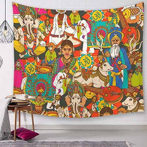 Tapiz De Pared,Colorido Los Elefantes Y Los Seres Humanos,Bohemio Pintura Psicodélica Indio...