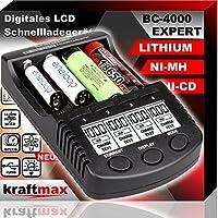kraftmax BC-4000 EXPERT - Universal Akku Ladegerät SMART Li-Ion Technology und Innenwiderstandsmessung - für Lithium und NiMH Akkus der neuesten Generation optimiert, z.B. 18650 Akkus