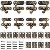 Sweieoni Klink Haak Hasp 60 Stks Antieke Vintage Lock Sluiting Vouwscharnieren Sieraden Doos Scharnieren Kleine Antiek met Ve