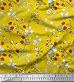 Soimoi Gelb Seide Stoff Blätter, Blumen und Beeren Obst