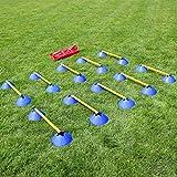 Mini-Hürden 10er Set blaue Markierhauben mit gelben Stangen 50 cm und Tragetasche, Agility - Hundetraining