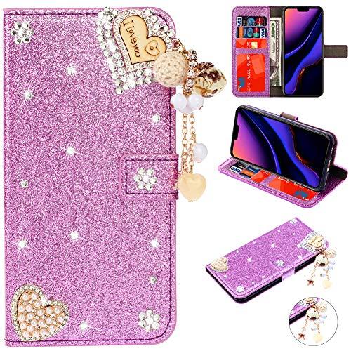 Stand Funktion für iPhone 11,Ledertasche Bling Glitter Glitzer Diamond Love Hearts Musterg Slim Retro Modisch Karteneinschub Magnetverschluss Flip Wallet Hülle Schutzhülle