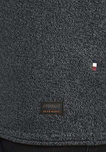 PRODUKT Percifal Herren Strickpullover Feinstrick Pulli mit Rundhals-Ausschnitt aus 100% Baumwolle Meliert Dark Grey