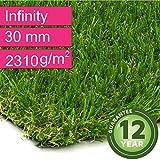 Kunstrasen Rasenteppich Infinity für Garten - Florhöhe 30 mm - Gewicht ca. 2310 g/m² - UV-Garantie 12 Jahre (DIN 53387) - 2,00 m x 0,50 m | Rollrasen | Kunststoffrasen