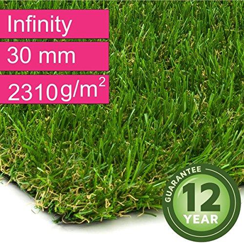 Kunstrasen Rasenteppich Infinity für Garten - Florhöhe 30 mm - Gewicht ca. 2310 g/m² - UV-Garantie 12 Jahre (DIN 53387) - 2,00 m x 2,50 m | Rollrasen | Kunststoffrasen (Infinity-teppich)