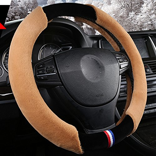 XuanMax Universal Winter Plusch Lenkradbezug Atmungsaktiv Fahrzeug Weich Warm Lenkradhulle Anti-Rutsch Pelz- Flaumig Lenkradschoner Auto Lenkrad Abdeckung Lenkradabdeckung Furry Fluffy Plush Steering Wheel Cover 38cm - Braun