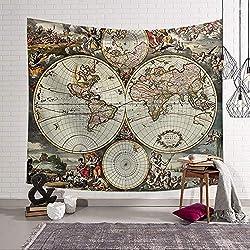 Tapiz Pared de Creativo,Morbuy Mapa del mundo 150 x 200 cm Decoración Tapices Mapa del mundo Impreso Tapicería Cubierta del Sofa Manteles Cortina Picnic Blanket Playa Accesorio Casero (Pequeño (130 x 150 cm), Mundo)
