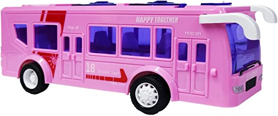 Emob Battery Operated Luxury Model Bus Toy with Light & Sound Effect (Pink)