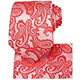 KissTies Mens Tie Set: Paisley Necktie + Hanky Pocket Square, Coral Red