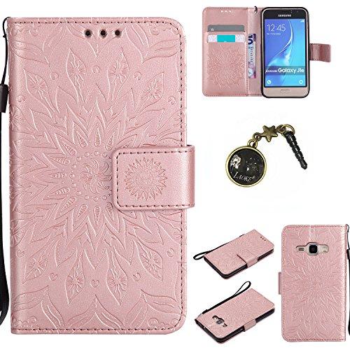 Preisvergleich Produktbild für Smartphone Samsung Galaxy J120 (4.5 zoll,J1 2016) SM-J120F Hülle, Klappetui Flip Cover Tasche Leder [Kartenfächer] Schutzhülle Lederbrieftasche Executive Design +Staubstecker (8FF)
