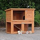 Animalhouseshop.de Preiswerter Kaninchenstall Basic mit Nageschutz 104x52x92cm