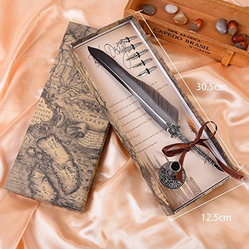 Foto de Quill - Juego de 5 bolígrafos de punta de metal para caligrafía, diseño de plumas antiguas, color negro