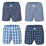 D.E.A.L International 4-er Set Boxershorts Blau Kariert Größe XL