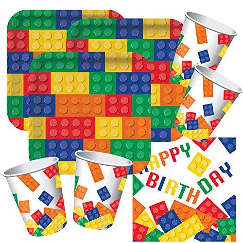 Unbekannt 48-Teiliges Party-Set Bausteine Happy Birthday - Teller Becher Servietten für 16 Kinder