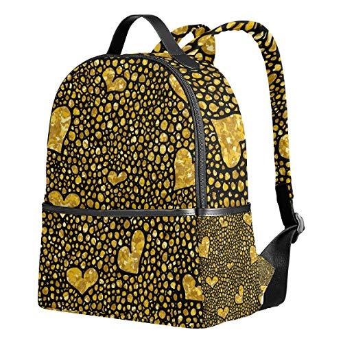 Ahomy Rucksack Gold Herz Glitzer Muster Rucksack Reise Camping Schule Tasche für Mädchen Jungen Frauen