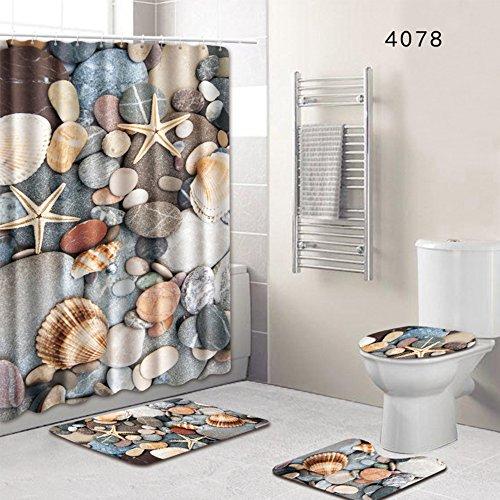Tookie 4-Teiliges Duschvorhang-Set Badezimmer Anti-Rutsch-WC-Vorleger + Deckel WC-Abdeckung + Badematte + Duschvorhang mit 12 Haken, 8 Arten zur Auswahl, 45 * 75cm 4078, Free Size