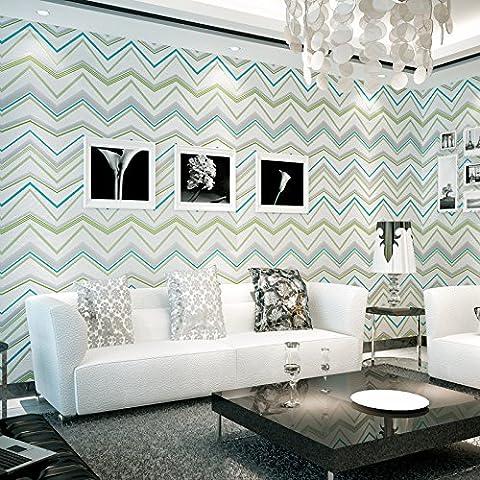 Hy-the Salon murale moderne minimaliste moiré papier peint abstrait géométrique Chambre à coucher Salon Curve, Bleu gris