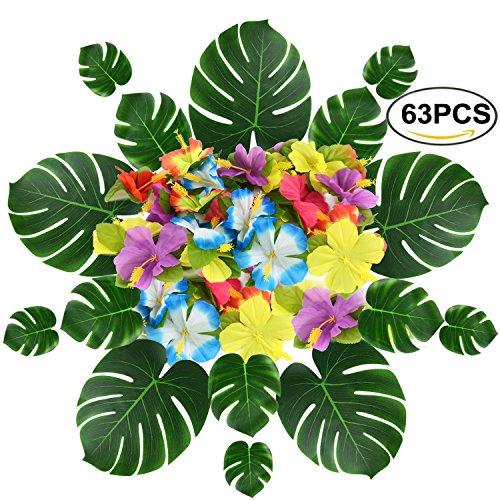 Asdomo 63PCS Tropical Palm Blätter und Seide Hibiskus Blumen Kunstpflanze Fensterblätter Nachahmung Blätter Blumen Girlanden für Hawaiian Luau Party Jungle Beach Thema Geburtstag Tischdekorationen