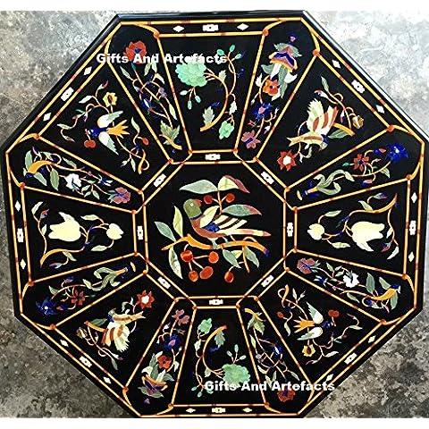 60Nero Marmo tavolo semi preziosa pietra intarsiato Octangle forma Tavolino Divano Tavolino Home Decor