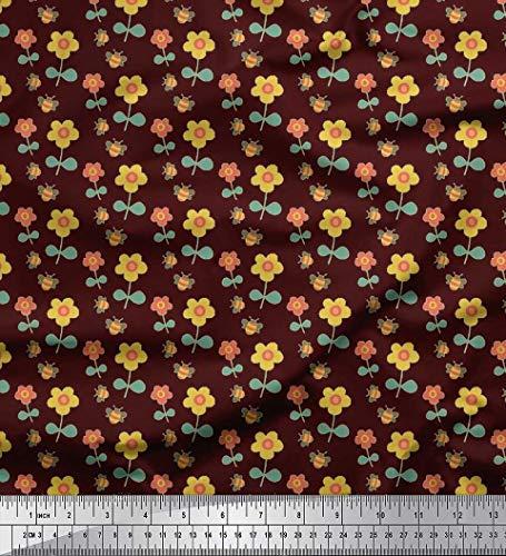 Soimoi Braun Poly Georgette Stoff Blätter, Licht Bug & Blumen Clip Art Stoff drucken 1 Meter 42 Zoll breit -