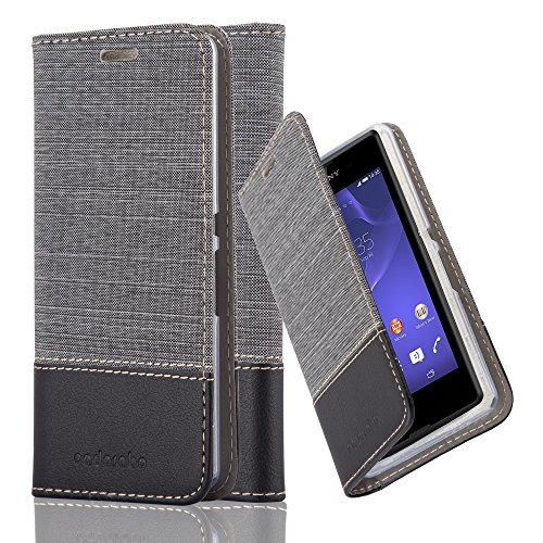 Cadorabo Hülle für Sony Xperia E3 - Hülle in GRAU SCHWARZ – Handyhülle mit Standfunktion und Kartenfach im Stoff Design - Case Cover Schutzhülle Etui Tasche Book
