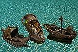 Set 3 ornamenti scenici grandi per acquario: nave - anfora - barca