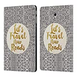 Ufficiale Pom Graphic Design Let's Travel New Roads Tipografia Cover a Portafoglio in Pelle per Samsung Galaxy Tab A 10.5 (2018)