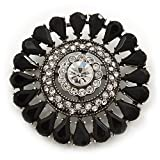 Broche de corsage cristal Swarovski vintage acrylique noir en finition argent brûlé - diamètre 5cm